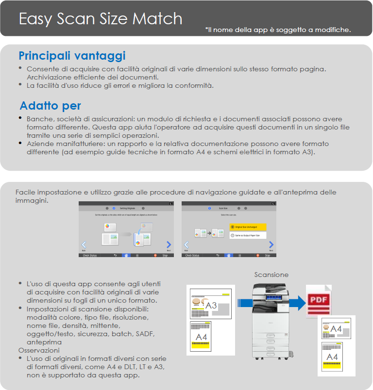 App Ricoh Easy scan size match